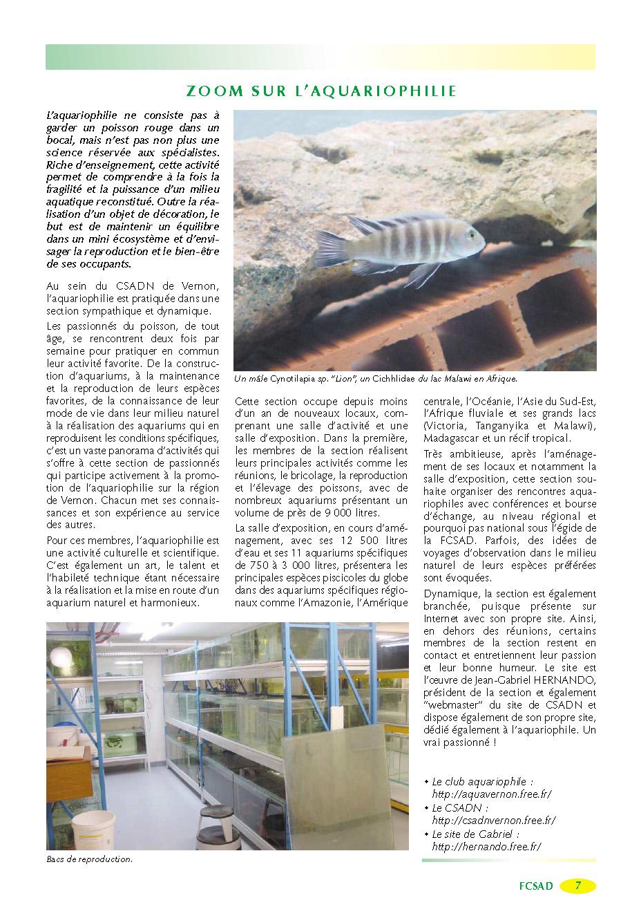 FCSAD - A Armes égales n° 17 - Septembre 2002 - Zoom sur l'Aquariophilie