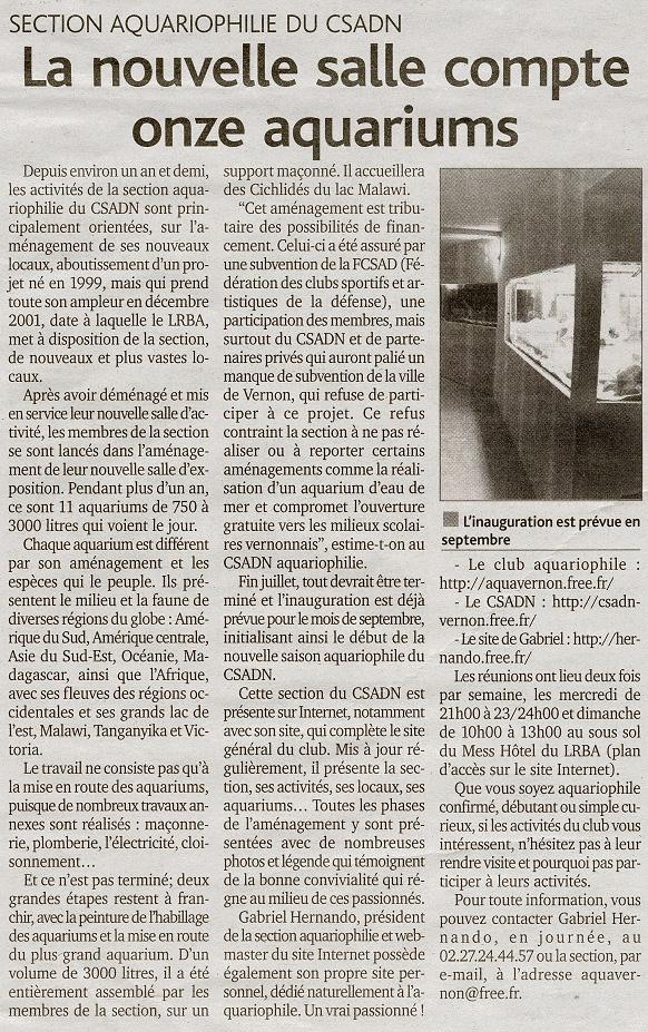 Article du Démocrate Vernonnais du 25 juin 2003