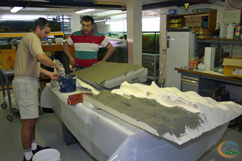 8 juillet 2007, réalisation d'un décors artificiel pour l'aquaterrarium