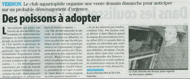 Paris Normandie du 9 juin 2012 - Des Poissons à adopter
