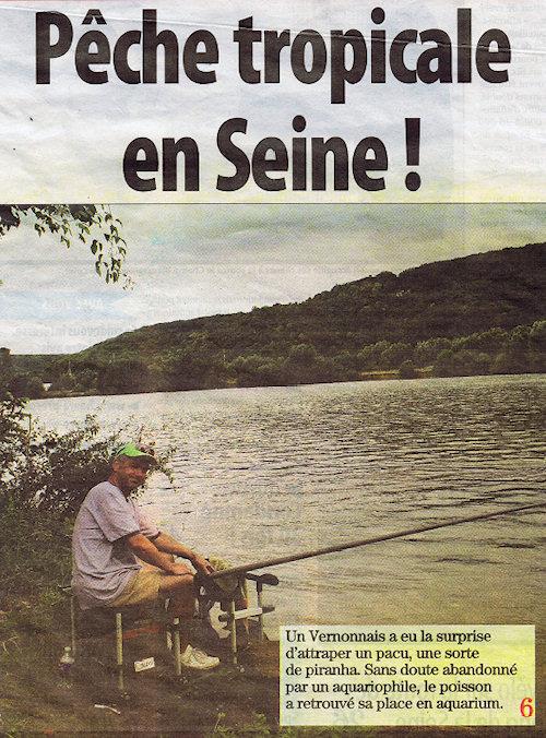 Paris Normandie du 7 août 2012, la une - Pêche tropicale en Seine
