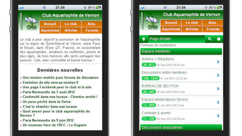 Le site Internet du club, en version mobile