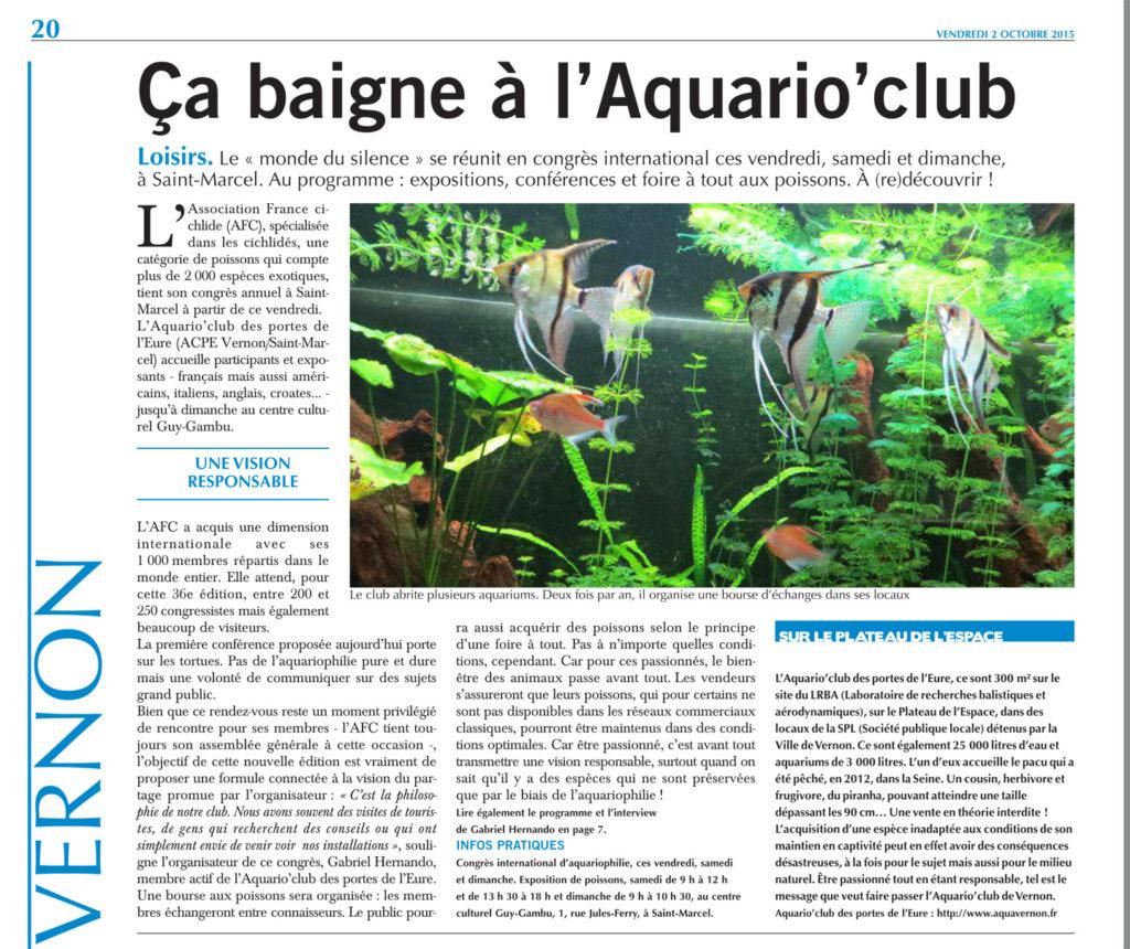 Paris Normandie du 2 octobre 2015 - Ca baigne à l'Aquario'Club