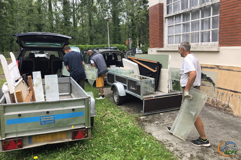 27 juin, évacuation des déchets vers la déchetterie