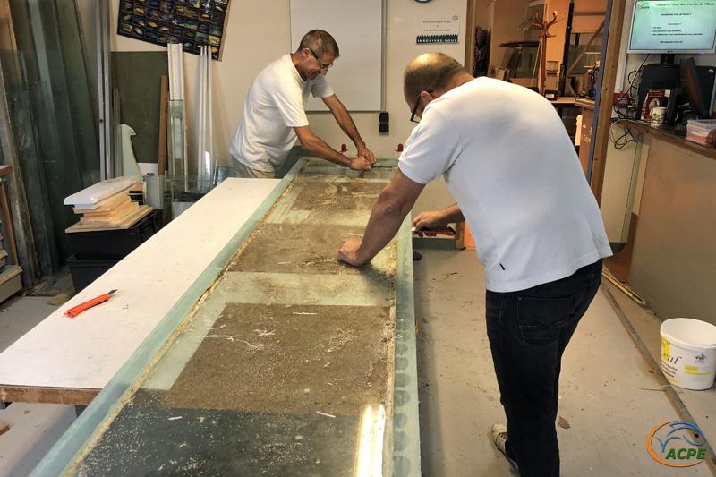 5 juillet, nettoyage de la glace de fond de l'aquarium de 1500 litres