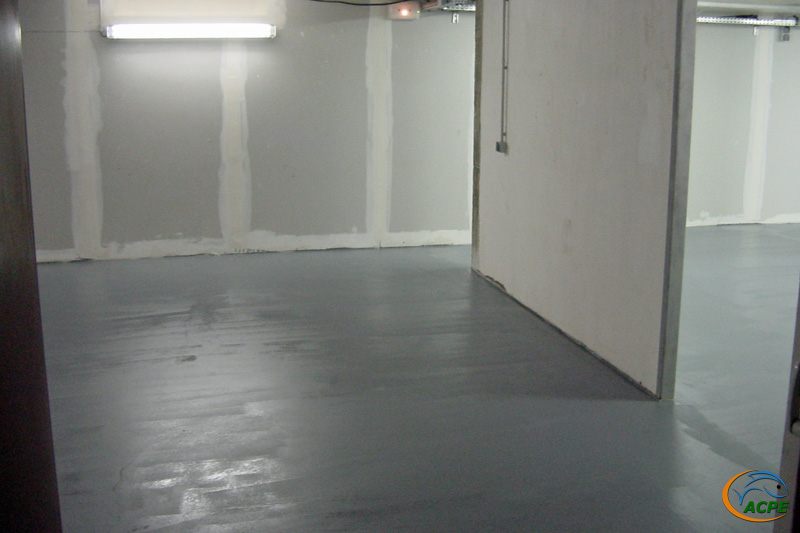 27 novembre 2001, le sol vient d'être résiné (vue de la porte d'entrée). La peinture est fraîche.