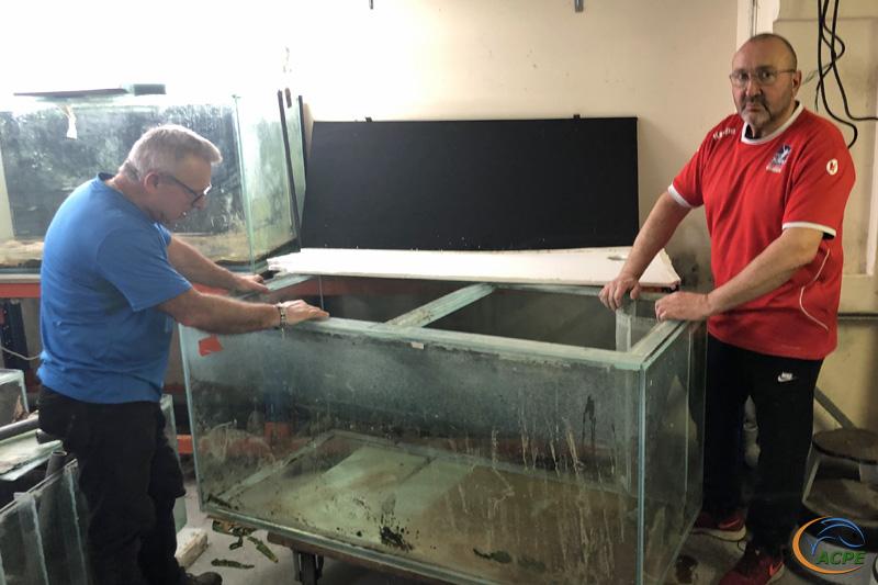 12 février 2012, démantèlement du 1er aquarium de 750 litres