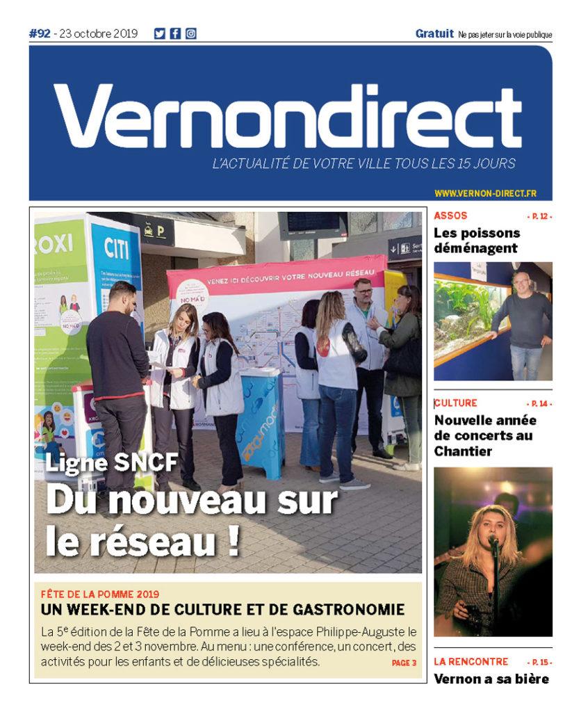 Vernon Direct 92 du 23 octobre 20198 - Les poissons migrent à Marcel Beaufour (couverture)