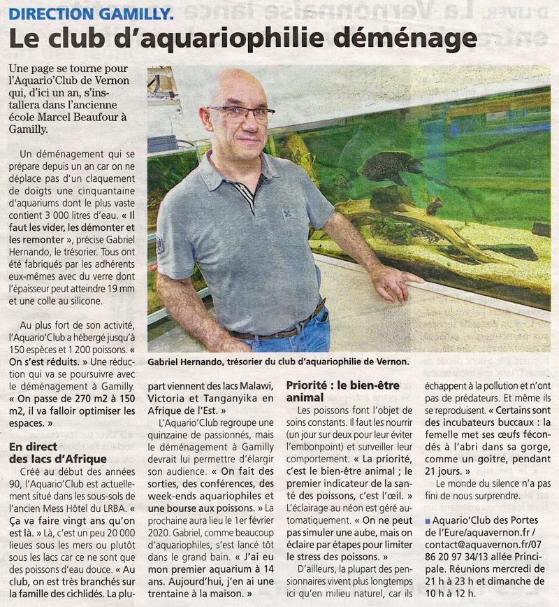 Démocrate Vernonnais du 9 janvier 2020 - Le club d'aquariophilie déménage